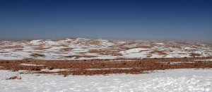 Snow on top of the mountains in Jordan.