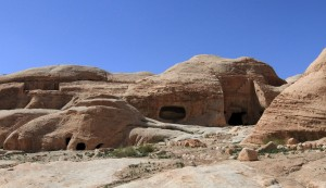 More tombs in Petra with an unfinished one on the left (notice that they carve from the top, then downwards).