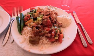 My first serving of food at the restaurant near Petra, in Wadi Musa.