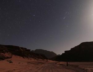The road to the Bedouin Resort under starlight.