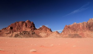 Another view of the rocky buttes in Wadi Rum.