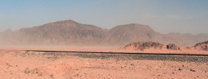 The Hejaz Railway near Wadi Rum (part of the Ottoman railway network that ran from Damascus to Medina).