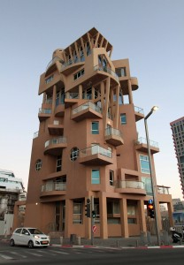 Interesting building located next to the beach promenade in Tel Aviv.