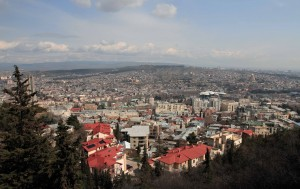 View of Tbilisi from Mtatsminda Pantheon.