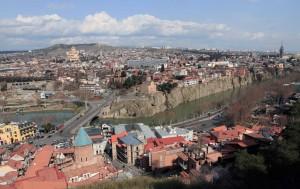 View of Old Tbilisi near Narikala Fortress.