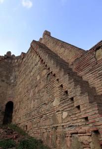 Brick steps inside Narikala Fortress.