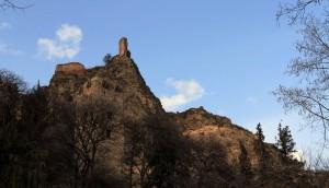 Narikala Fortress seen from the botanical gardens.
