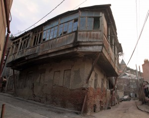 The overhanging addition to this home doesn't look too structurally sound - and there were many homes in Tbilisi like this one.