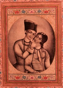 An eighteenth-century AD Iranian painting of two lovers.