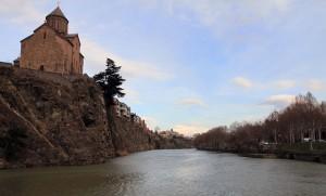 The Kura (Mtkvari) River with Metekhi Church on the left.