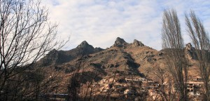 Town seen from the road in Armenia.
