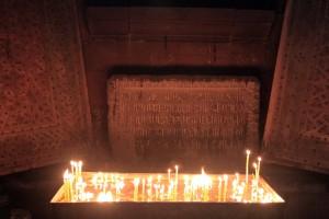 Prayer candles inside the church.
