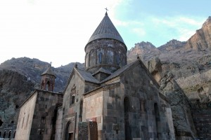 Looking at the exterior of the Katoghikeh in Geghard Monastery, which was established by St. Gregory the Illuminator in the 4th-century AD.