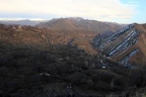 View of the mountainous valley at Garni.