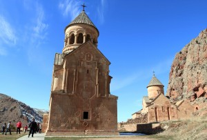 St. Astvatsatsin Church on the left and St. Stepanos Nakhav'ka Church with St. Grigor's Chapel to the right, at Noravank Monastery.