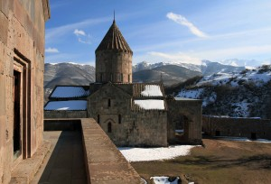 Saints Poghos and Petros Church, seen from St. Astvatsatsin Church in the Tatev Monastery complex.