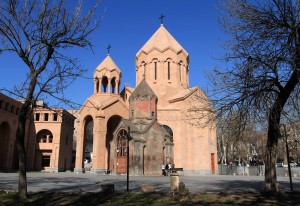 The Holy Mother of God Katoghike Church (the small medieval one) next to the large, recently constructed St. Anna Church.