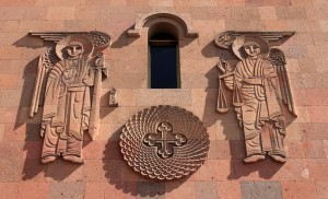 Closeup of the sculpture above the entrance to the St. Sarkis Cathedral.