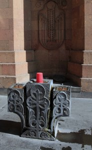 Drinking fountain, continuously flowing from an underground spring, near the cathedral - these spring-fed drinking fountains can be found all over Yerevan.