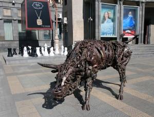 Bull sculpture found in Yerevan.