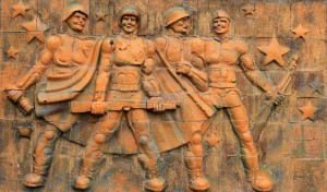 Relief on the wall outside of the Great Patriotic War Museum in Gori.