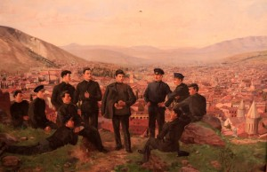 Painting depicting a young Ioseb Besarionis dze Jughashvili (i.e. Stalin) with his comrades.