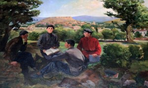 I can't help but laugh every time I see this painting of a young Stalin teaching his gullible school friends in the town of Gori.