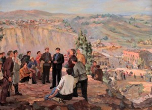 "Another idealistic painting of a young Stalin giving his ""Sermon on the Mount"" - one should never turn political leaders into idols; they are not divine and are actually horrible human beings . . . all of them."