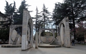 Monument with sculptures in Kutaisi.