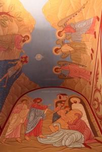 Frescoes inside the church in Motsameta Monastery.