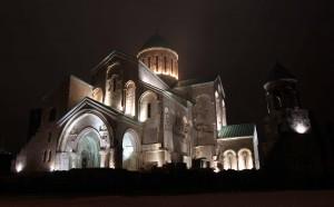 Bagrati Cathedral at night.