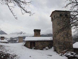 Medieval towers in Mestia amidst the recent snowfall.