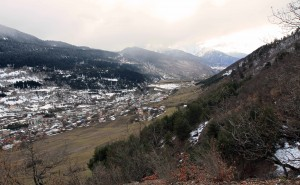 View of Mestia and the valley almost completely free from last night's snowfall.
