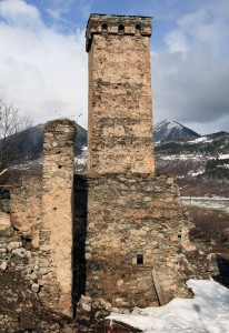 A medieval tower and ruins in Mestia.