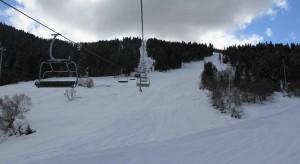 Riding the lone ski lift at Hatsvali Ski Resort.