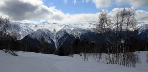 The Caucasus Mountains, seen by looking south from the top of Hatsvali Ski Resort.