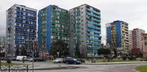 Colorful apartment buildings in Batumi.