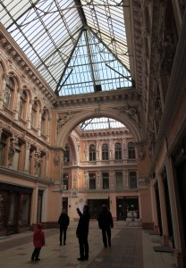 Inside the Odessa Passage - an ornate, albeit small, shopping mall.