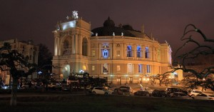 Odessa Opera and Ballet Theater at night.