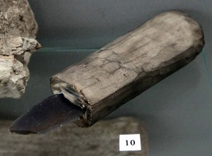 Ancient shiv made with bone and obsidian.