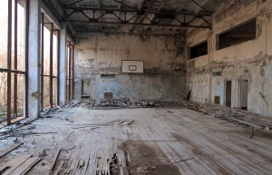 Basketball court at Pripyat.