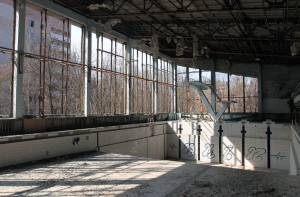The swimming pool at Pripyat.
