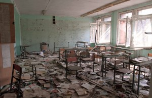 Classroom in the derelict school in Pripyat.