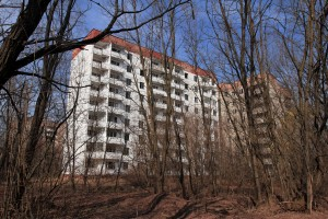 Abandoned apartment buildings in Pripyat.