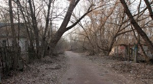 Road through the abandoned neighborhood at the outskirts of Chernobyl.