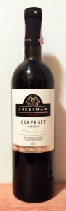 Bottle of Crimean red wine made from Cabernet Sauvignon grapes.