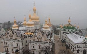 Dormition Cathedral and the Refectory Church, seen from the Great Lavra Bell Tower.