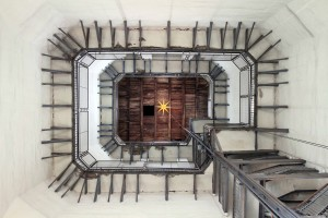 Looking up inside the bell tower.