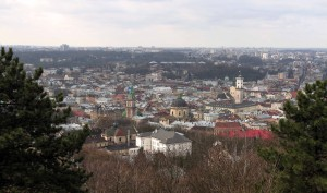 View of Lviv from Union of Lublin mound, located where the High Castle used to stand.