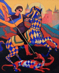 2013 AD painting of St. George slaying his dragon (apparently while on LSD).